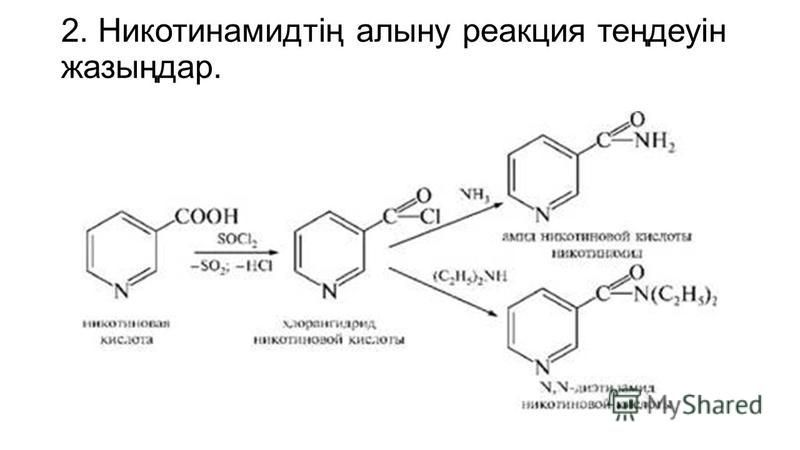 2. Никотинамидтің алину реакция теңдеуін жазыңдар.