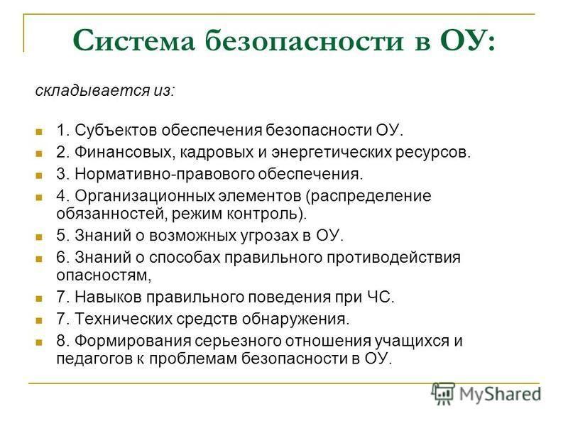 Система безопасности в ОУ: складывается из: 1. Субъектов обеспечения безопасности ОУ. 2. Финансовых, кадровых и энергетических ресурсов. 3. Нормативно-правового обеспечения. 4. Организационных элементов (распределение обязанностей, режим контроль). 5