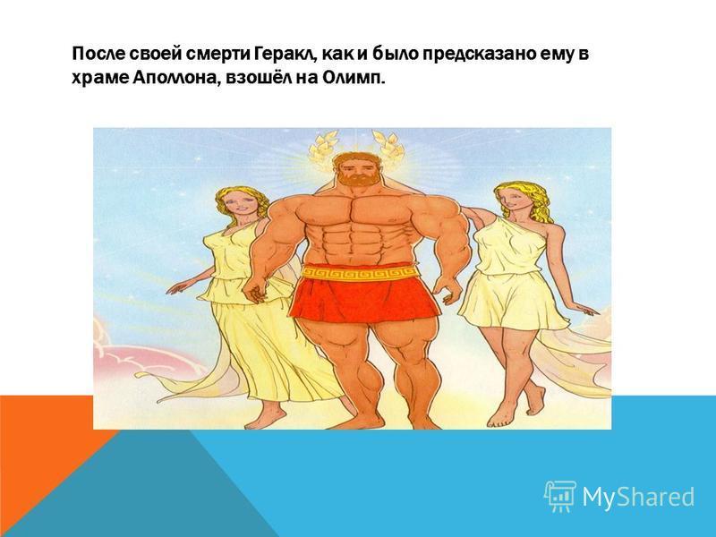 После своей смерти Геракл, как и было предсказано ему в храме Аполлона, взошёл на Олимп.