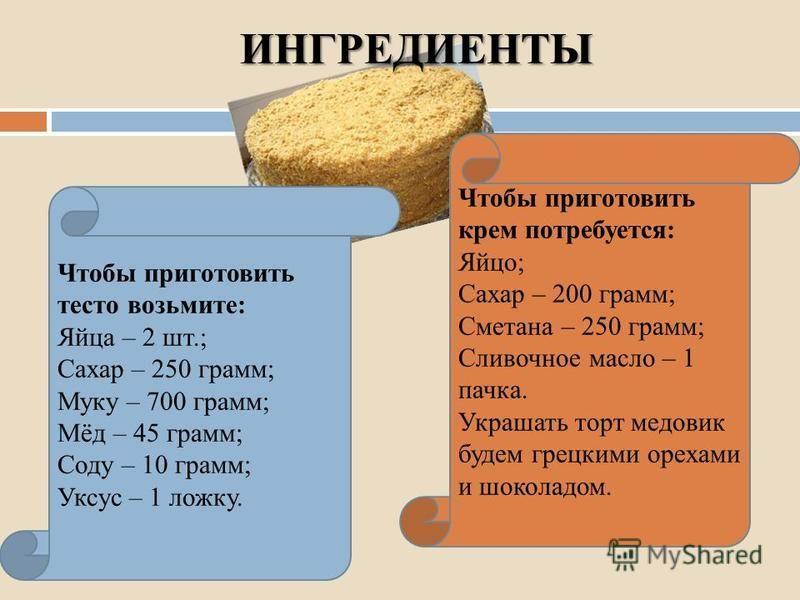 ИНГРЕДИЕНТЫ Чтобы приготовить тесто возьмите: Яйца – 2 шт.; Сахар – 250 грамм; Муку – 700 грамм; Мёд – 45 грамм; Соду – 10 грамм; Уксус – 1 ложку. Чтобы приготовить крем потребуется: Яйцо; Сахар – 200 грамм; Сметана – 250 грамм; Сливочное масло – 1 п