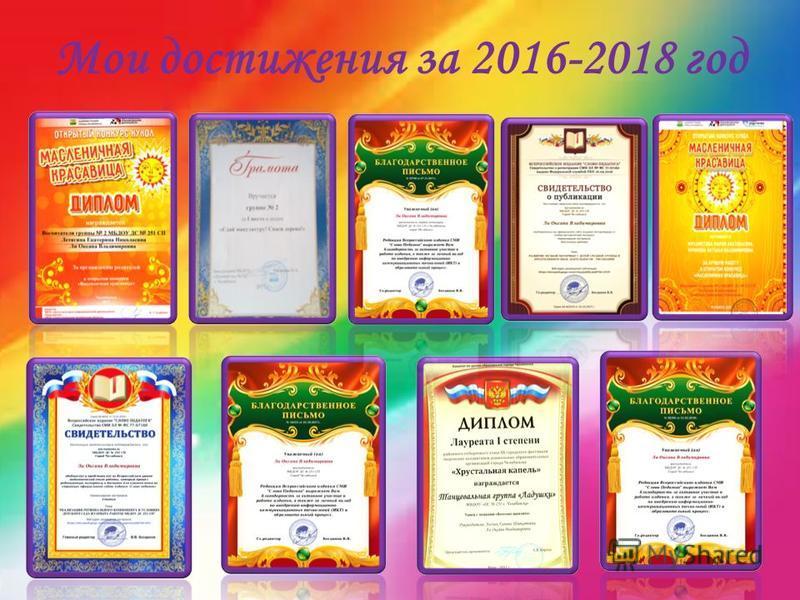 Мои достижения за 2016-2018 год
