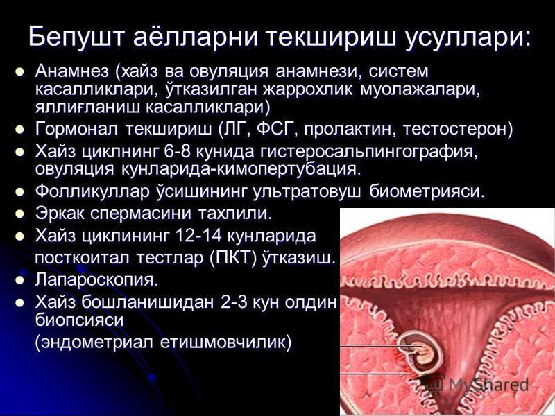 Бепушт аёлларни текшириш усуллари: Анамнез (хайз ва овуляция анамнези, систем касалликлари, ўтказилган жаррохлик муолажалари, яллиғланиш касалликлари) Анамнез (хайз ва овуляция анамнези, систем касалликлари, ўтказилган жаррохлик муолажалари, яллиғлан