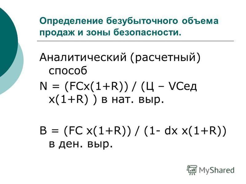 Определение безубыточного объема продаж и зоны безопасности. Аналитический (расчетный) способ N = (FCх(1+R)) / (Ц – VCед х(1+R) ) в нат. выр. В = (FC х(1+R)) / (1- dх х(1+R)) в ден. выр.