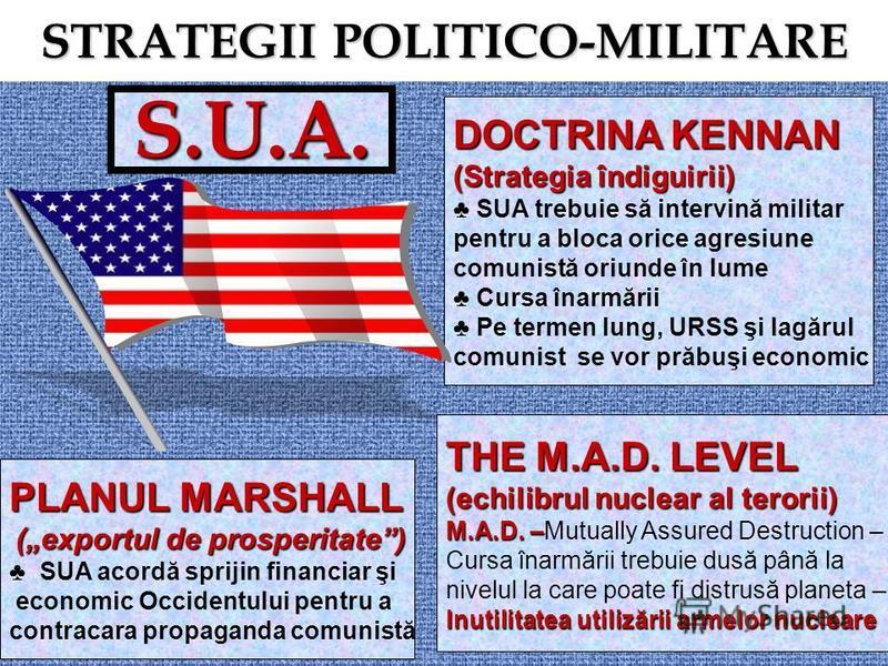 STRATEGII POLITICO-MILITARE S.U.A. PLANUL MARSHALL (exportul de prosperitate) (exportul de prosperitate) SUA acordă sprijin financiar şi economic Occidentului pentru a contracara propaganda comunistă DOCTRINA KENNAN (Strategia îndiguirii) SUA trebuie