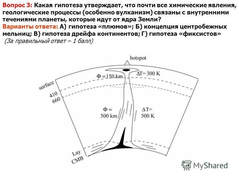 Вопрос 3: Какая гипотеза утверждает, что почти все химические явления, геологические процессы (особенно вулканизм) связаны с внутренними течениями планеты, которые идут от ядра Земли? Варианты ответа: А) гипотеза «плюсов»; Б) концепция центробежных м