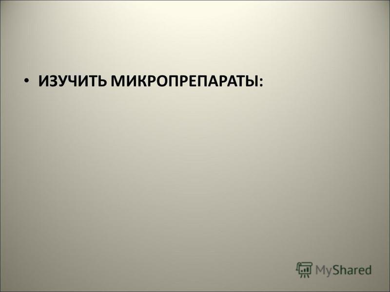 ИЗУЧИТЬ МИКРОПРЕПАРАТЫ: