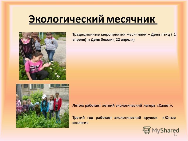 Экологический месячник Традиционные мероприятия месячники – День птиц ( 1 апреля) и День Земли ( 22 апреля) Летом работает летний экологический лагерь «Салют». Третий год работает экологический кружок «Юные экологи» 11