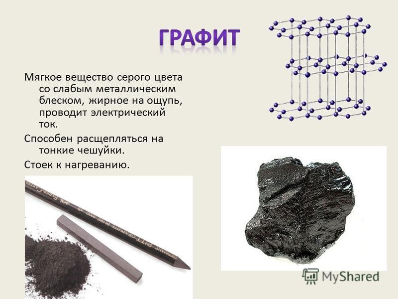 Мягкое вещество серого цвета со слабым металлическим блеском, жирное на ощупь, проводит электрический ток. Способен расщепляться на тонкие чешуйки. Стоек к нагреванию.
