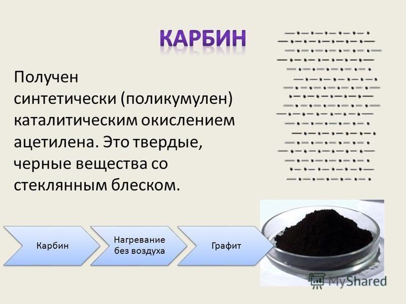 Получен синтетически (поликумулен) каталитическим окислением ацетилена. Это твердые, черные вещества со стеклянным блеском. Карбин Нагревание без воздуха Графит