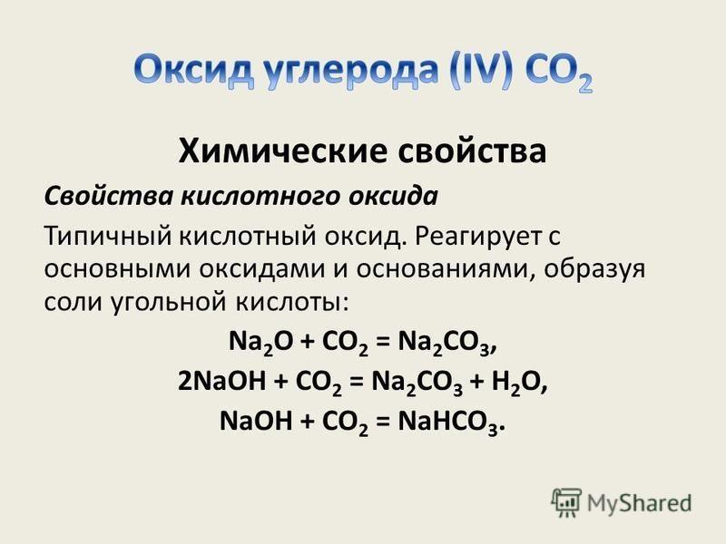 Химические свойства Свойства кислотного оксида Типичный кислотный оксид. Реагирует с основными оксидами и основаниями, образуя соли угольной кислоты: Na 2 O + CO 2 = Na 2 CO 3, 2NaOH + CO 2 = Na 2 CO 3 + H 2 O, NaOH + CO 2 = NaHCO 3.