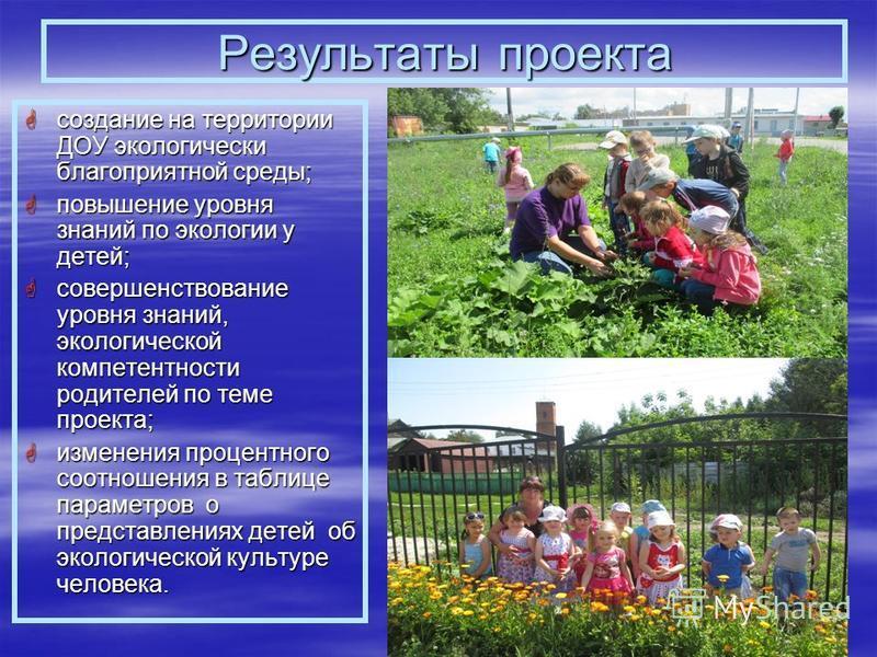 Результаты проекта создание на территории ДОУ экологически благоприятной среды; создание на территории ДОУ экологически благоприятной среды; повышение уровня знаний по экологии у детей; повышение уровня знаний по экологии у детей; совершенствование у