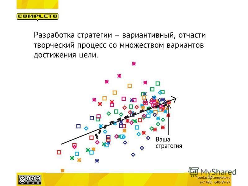 Разработка стратегии – вариативный, отчасти творческий процесс со множеством вариантов достижения цели.