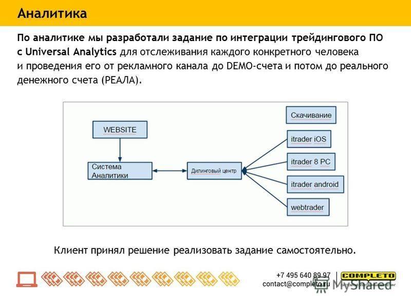 По аналитике мы разработали задание по интеграции трейдингового ПО с Universal Analytics для отслеживания каждого конкретного человека и проведения его от рекламного канала до DEMO-счета и потом до реального денежного счета (РЕАЛА). Клиент принял реш