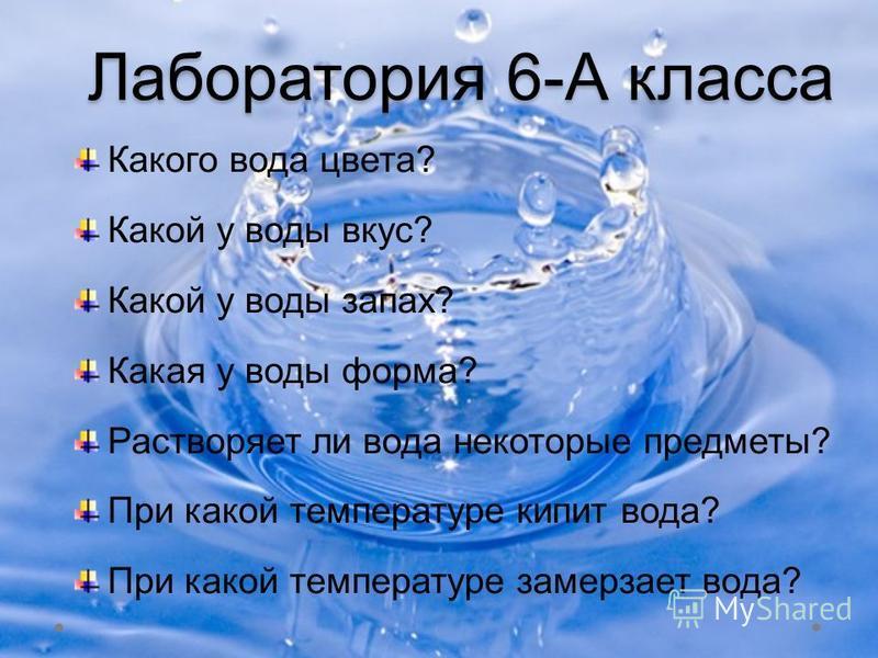 Лаборатория 6-А класса Какого вода цвета? Какой у воды вкус? Какой у воды запах? Какая у воды форма? Растворяет ли вода некоторые предметы? При какой температуре кипит вода? При какой температуре замерзает вода?