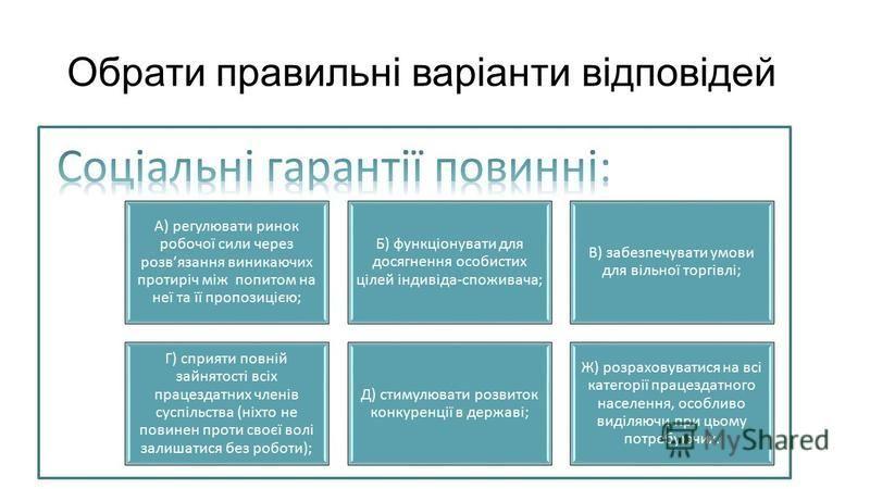 Обрати правильні варіанти відповідей А) регулювати ринок робочої сили через розвязання виникаючих протиріч між попитом на неї та її пропозицією; Б) функціонувати для досягнення особистих цілей індивіда-споживача; В) забезпечувати умови для вільної то