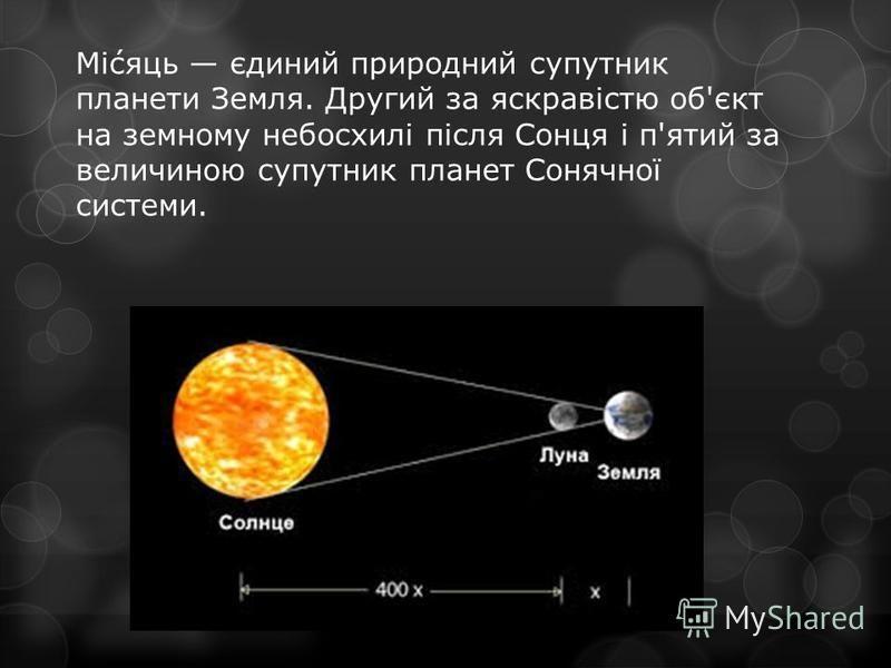 Мі́сяць єдиний природний супутник планети Земля. Другий за яскравістю об'єкт на земному небосхилі після Сонця і п'ятий за величиною супутник планет Сонячної системи.