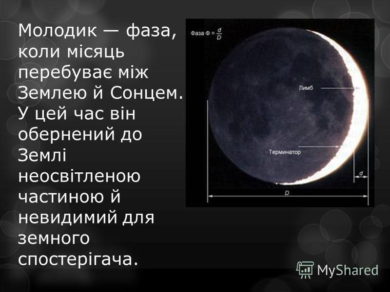 Молодик фаза, коли місяць перебуває між Землею й Сонцем. У цей час він обернений до Землі неосвітленою частиною й невидимий для земного спостерігача.