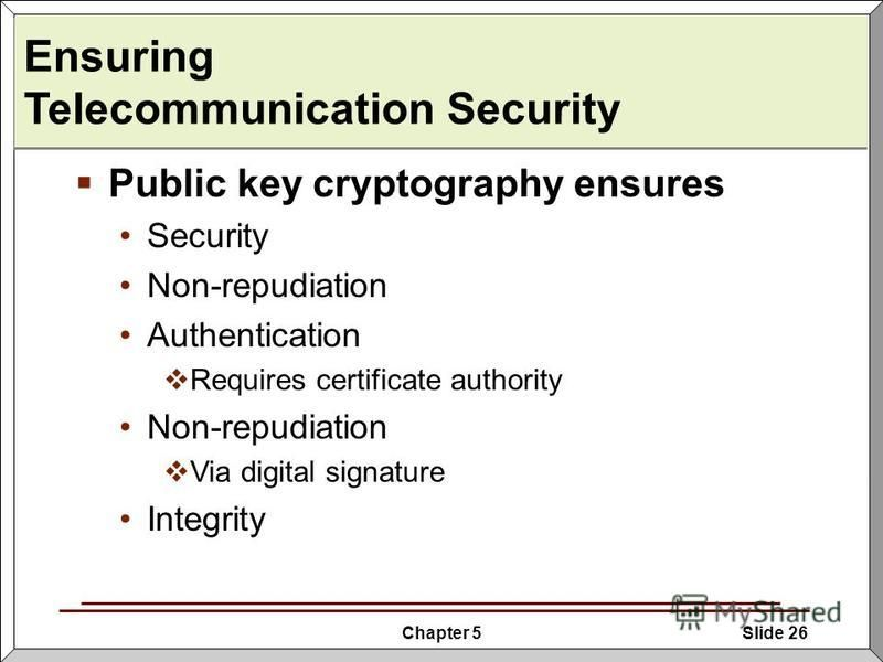 Chapter 5Slide 26 Ensuring Telecommunication Security Public key cryptography ensures Security Non-repudiation Authentication Requires certificate authority Non-repudiation Via digital signature Integrity