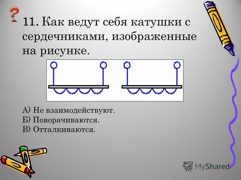 11. Как ведут себя катушки с сердечниками, изображенные на рисунке. А) Не взаимодействуют. Б) Поворачиваются. В) Отталкиваются.