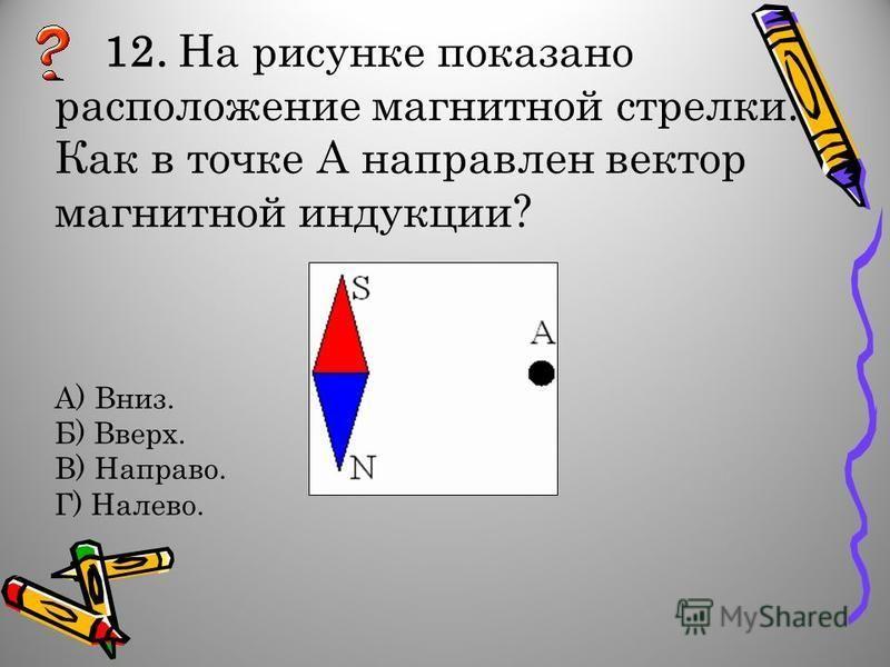 12. На рисунке показано расположение магнитной стрелки. Как в точке А направлен вектор магнитной индукции? А) Вниз. Б) Вверх. В) Направо. Г) Налево.