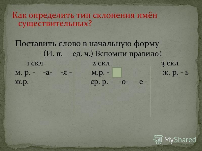 Как определить тип склонения имён существительных? Поставить слово в начальную форму (И. п. ед. ч.) Вспомни правило! 1 скл 2 скл. 3 скл м. р. - -а- -я - м.р. - ж. р. - ь ж.р. - ср. р. - -о- - е -