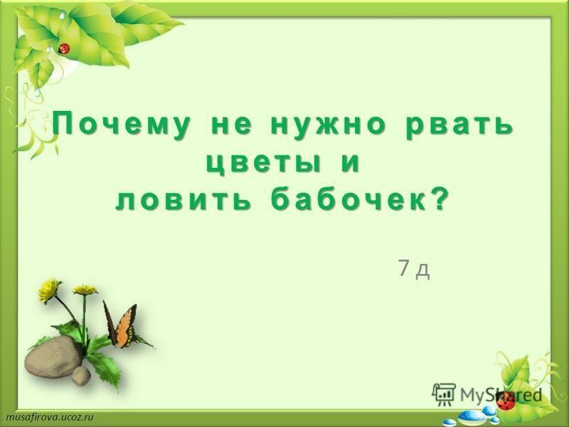 Почему не нужно рвать цветы и ловить бабочек? 7 д