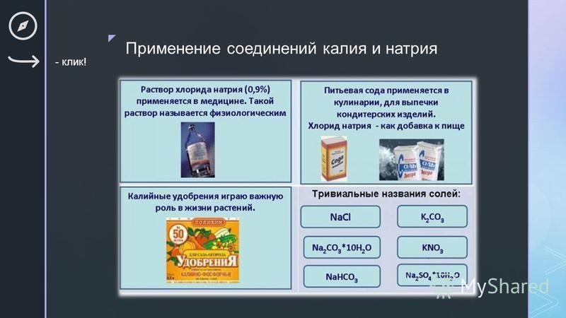 Применение соединений калия и натрия - клик!