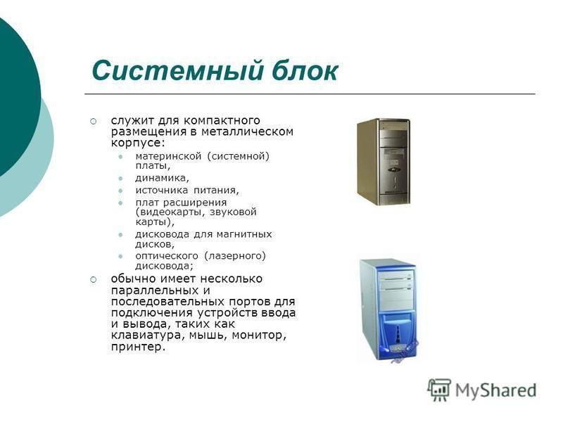 Системный блок служит для компактного размещения в металлическом корпусе: материнской (системной) платы, динамика, источника питания, плат расширения (видеокарты, звуковой карты), дисковода для магнитных дисков, оптического (лазерного) дисковода; обы