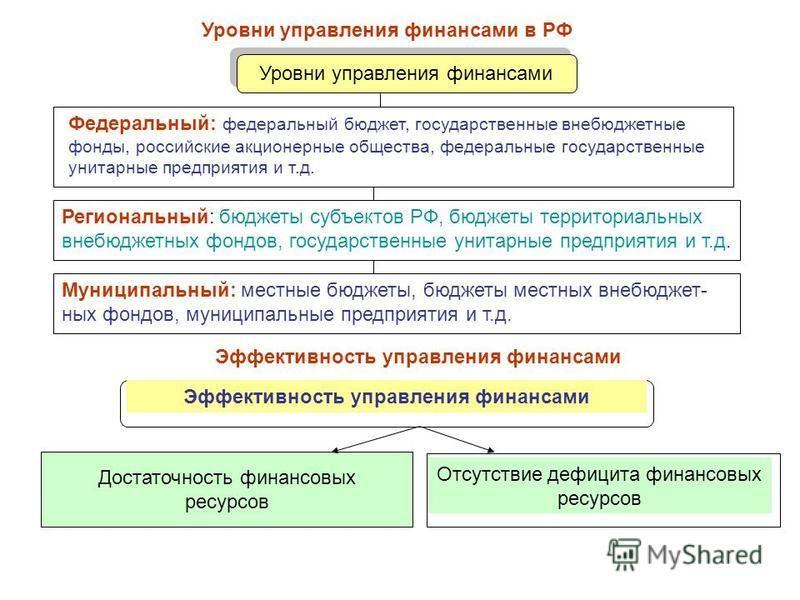 Уровни управления финансами в РФ Федеральный: федеральный бюджет, государственные внебюджетные фонды, российские акционерные общества, федеральные государственные унитарные предприятия и т.д. Региональный: бюджеты субъектов РФ, бюджеты территориальны
