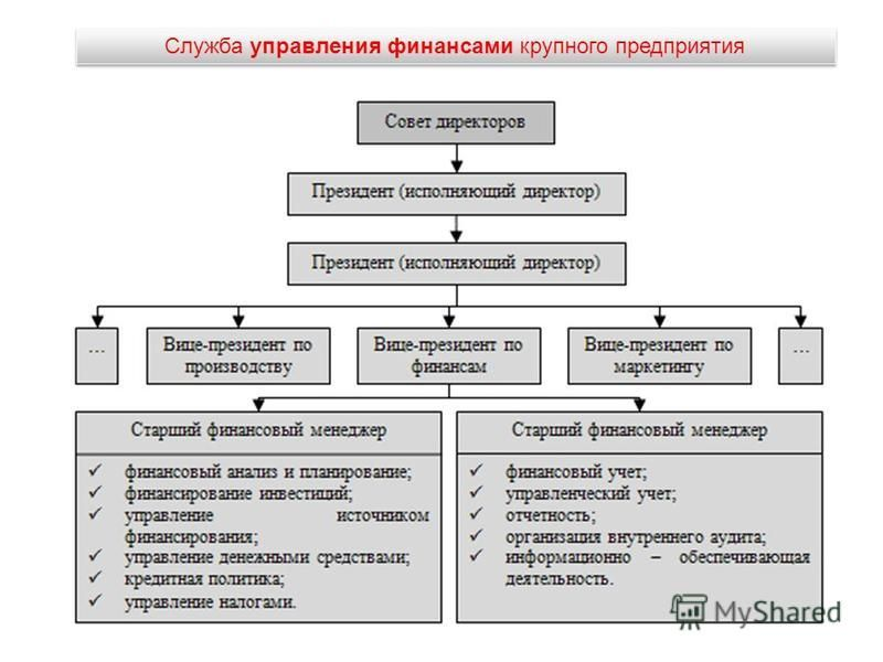 Служба управления финансами крупного предприятия