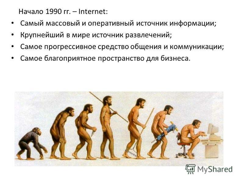 Начало 1990 гг. – Internet: Самый массовый и оперативный источник информации; Крупнейший в мире источник развлечений; Самое прогрессивное средство общения и коммуникации; Самое благоприятное пространство для бизнеса.