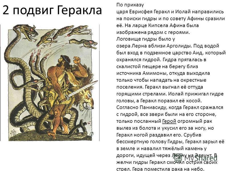 2 подвиг Геракла По приказу царя Еврисфея Геракл и Иолай направились на поиски гидры и по совету Афины сразили её. На ларце Кипсела Афина была изображена рядом с героями. Логовище гидры было у озера Лерна вблизи Арголиды. Под водой был вход в подземн