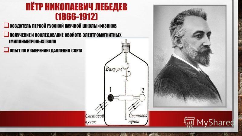 ПЁТР НИКОЛАЕВИЧ ЛЕБЕДЕВ (1866-1912) СОЗДАТЕЛЬ ПЕРВОЙ РУССКОЙ НАУЧНОЙ ШКОЛЫ ФИЗИКОВ ПОЛУЧЕНИЕ И ИССЛЕДОВАНИЕ СВОЙСТВ ЭЛЕКТРОМАГНИТНЫХ (МИЛЛИМЕТРОВЫХ) ВОЛН ОПЫТ ПО ИЗМЕРЕНИЮ ДАВЛЕНИЯ СВЕТА