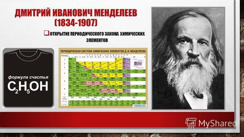 ДМИТРИЙ ИВАНОВИЧ МЕНДЕЛЕЕВ (1834-1907) ОТКРЫТИЕ ПЕРИОДИЧЕСКОГО ЗАКОНА ХИМИЧЕСКИХ ЭЛЕМЕНТОВ