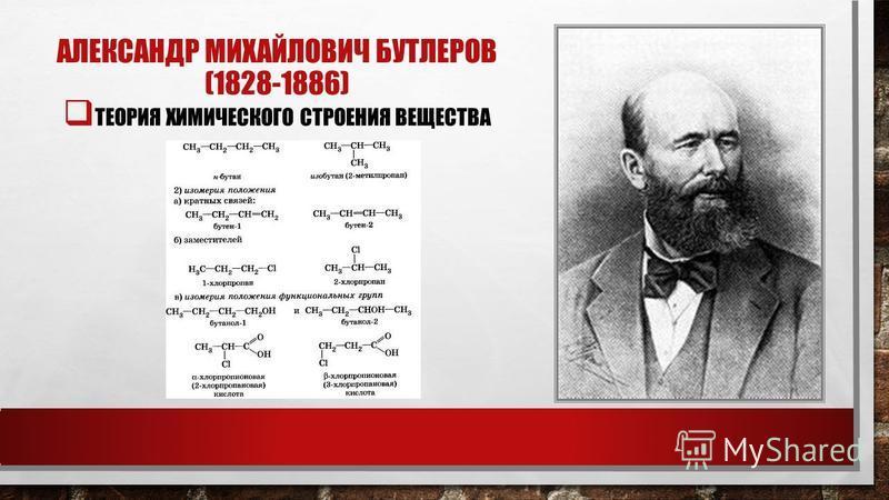 АЛЕКСАНДР МИХАЙЛОВИЧ БУТЛЕРОВ (1828-1886) ТЕОРИЯ ХИМИЧЕСКОГО СТРОЕНИЯ ВЕЩЕСТВА