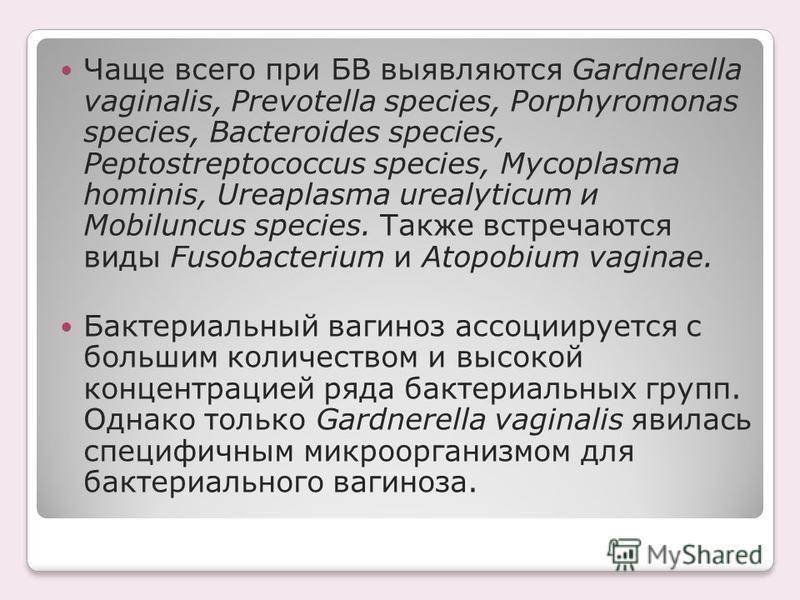 Чаще всего при БВ выявляются Gardnerella vaginalis, Prevotella species, Porphyromonas species, Bacteroides species, Peptostreptococcus species, Mycoplasma hominis, Ureaplasma urealyticum и Mobiluncus species. Также встречаются виды Fusobacterium и At