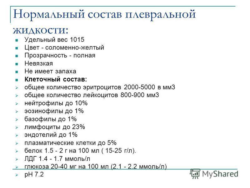 Нормальный состав плевральной жидкости: Удельный вес 1015 Цвет - соломенно-желтый Прозрачность - полная Невязкая Не имеет запаха Клеточный состав: общее количество эритроцитов 2000-5000 в мм 3 общее количество лейкоцитов 800-900 мм 3 нейтрофилы до 10