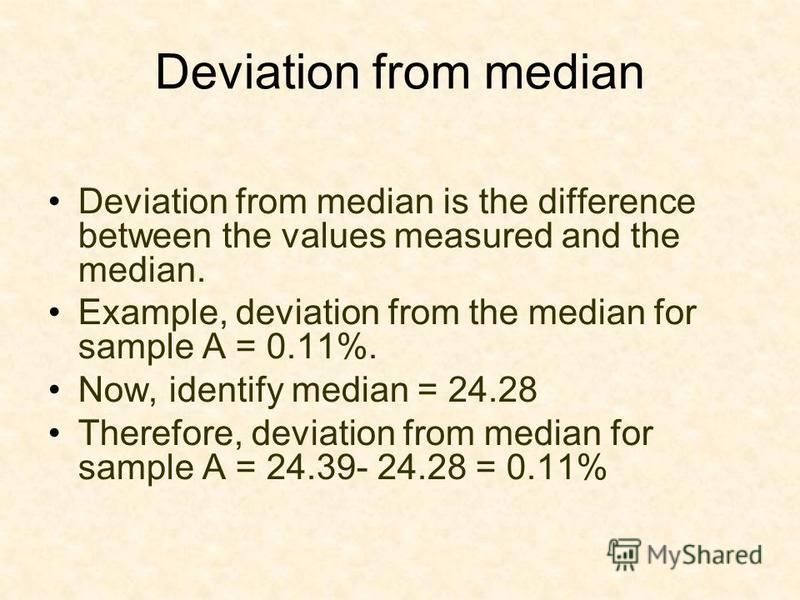 Deviation from median Deviation from median is the difference between the values measured and the median. Example, deviation from the median for sample A = 0.11%. Now, identify median = 24.28 Therefore, deviation from median for sample A = 24.39- 24.