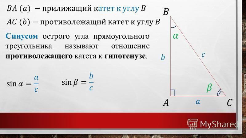 Синусом острого угла прямоугольного треугольника называют отношение противолежащего катета к гипотенузе.