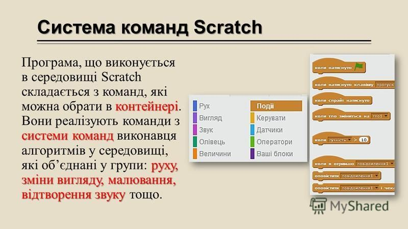 Система команд Scratch контейнері системи команд руху, зміни вигляду, малювання, відтворення звуку Програма, що виконується в середовищі Scratch складається з команд, які можна обрати в контейнері. Вони реалізують команди з системи команд виконавця а
