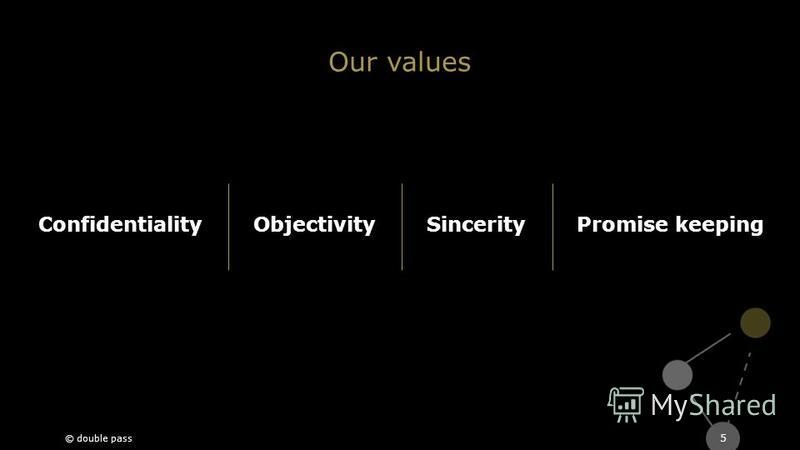 5 ConfidentialityObjectivitySincerity © double pass Promise keeping Our values
