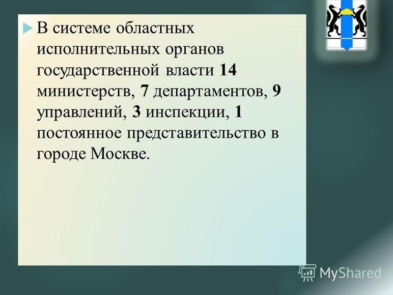 В системе областных исполнительных органов государственной власти 14 министерств, 7 департаментов, 9 управлений, 3 инспекции, 1 постоянное представительство в городе Москве.