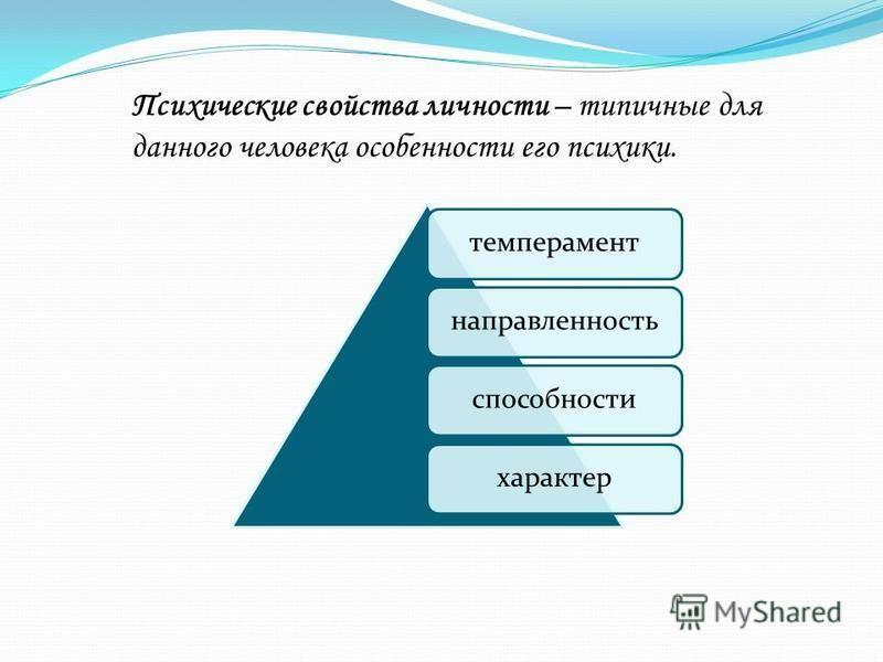 темперамент направленность способности характер Психические свойства личности – типичные для данного человека особенности его психики.