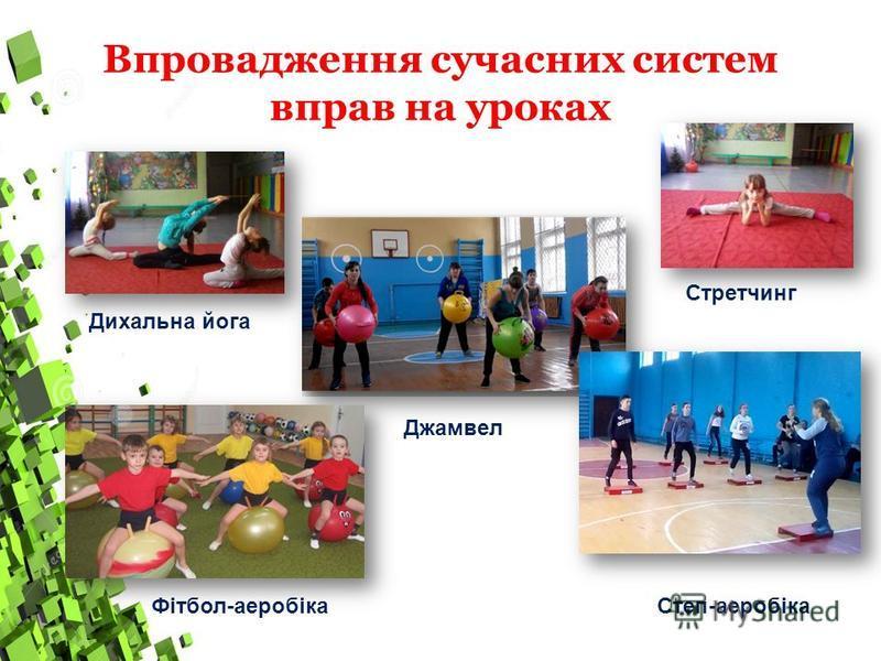 Впровадження сучасних систем вправ на уроках Дихальна йога Стретчинг Джамвел Степ-аеробікаФітбол-аеробіка