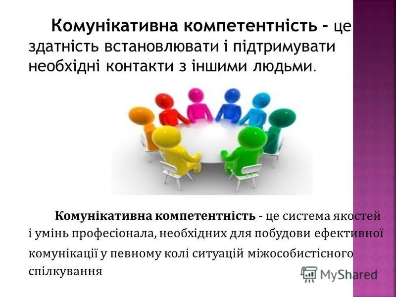 Комунікативна компетентність - це здатність встановлювати і підтримувати необхідні контакти з іншими людьми. Комунікативна компетентність - це система якостей і умінь професіонала, необхідних для побудови ефективної комунікації у певному колі ситуаці