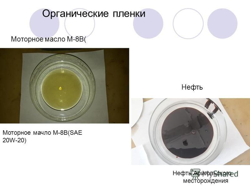 Органические пленки Моторное масло M-8B( Нефть Нефть Аригольского месторождения Моторное масло M-8B(SAE 20W-20)