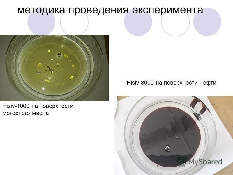 методика проведения эксперимента Hisiv-1000 на поверхности моторного масла Hisiv-3000 на поверхности нефти
