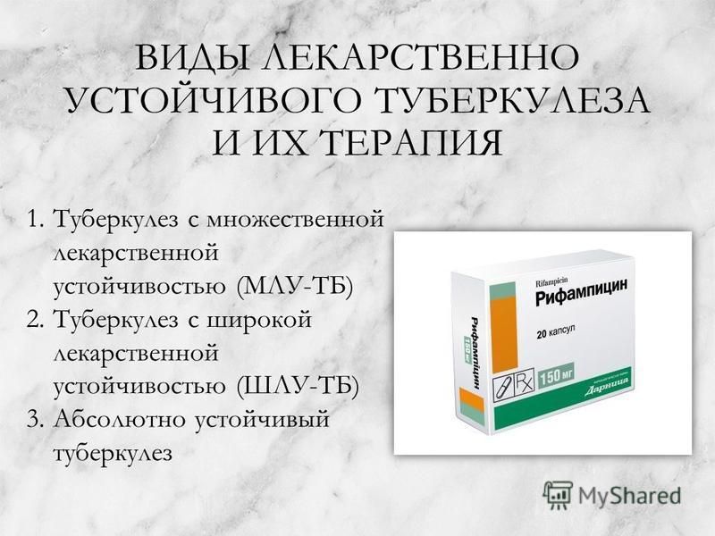 ВИДЫ ЛЕКАРСТВЕННО УСТОЙЧИВОГО ТУБЕРКУЛЕЗА И ИХ ТЕРАПИЯ 1. Туберкулез с множественной лекарственной устойчивостью (МЛУ-ТБ) 2. Туберкулез с широкой лекарственной устойчивостью (ШЛУ-ТБ) 3. Абсолютно устойчивый туберкулез