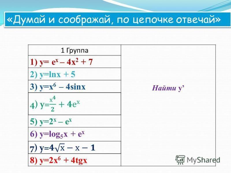 1 Группа Найти y 1) y= e x – 4x 2 + 7 2) y=lnx + 5 3) y=x 6 – 4sinx 5) y=2 x – e x 6) y=log 5 x + e x 8) y=2x 6 + 4tgx «Думай и соображай, по цепочке отвечай»