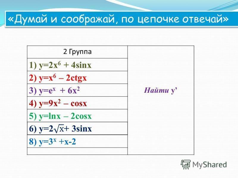 2 Группа Найти y 1) y=2x 6 + 4sinx 2) y=x 6 – 2ctgx 3) y=e x + 6x 2 4) y=9x 2 – cosx 5) у=lnx – 2cosx 8) y=3 x +х-2